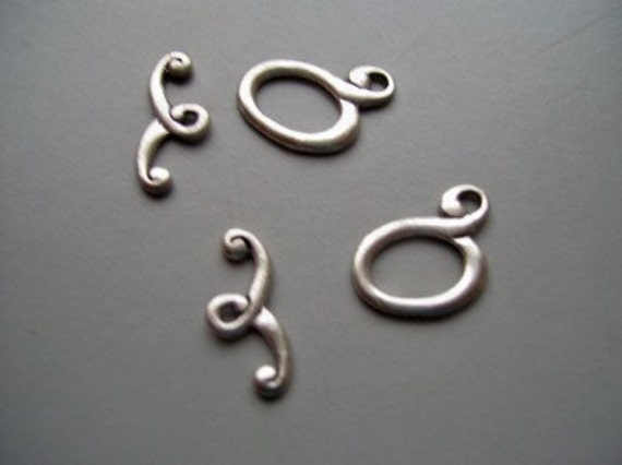 2 Antique Silver Pewter Toggle Clasps 20mm
