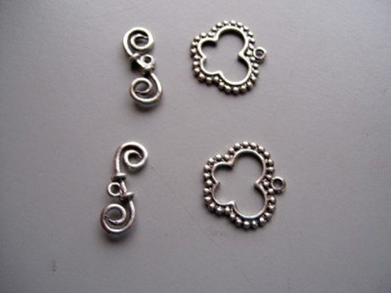 2 Antique Silver Pewter Butterfly Toggle Clasps 23mm