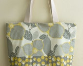 Tote Bag Mustard Linen Flower
