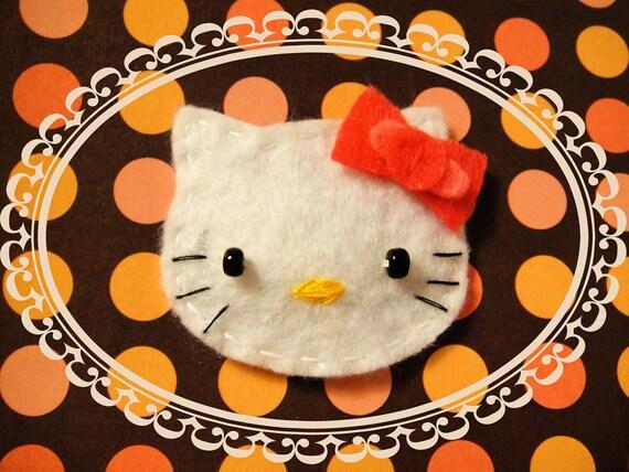 Hello Kitty with Pink Bow: Handmade Felt Hello Kitty