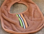 Baby Bib, Tie Hand Dyed Rustic Brown Terry Bib with Stripe Tie Applique, One Size Fits All