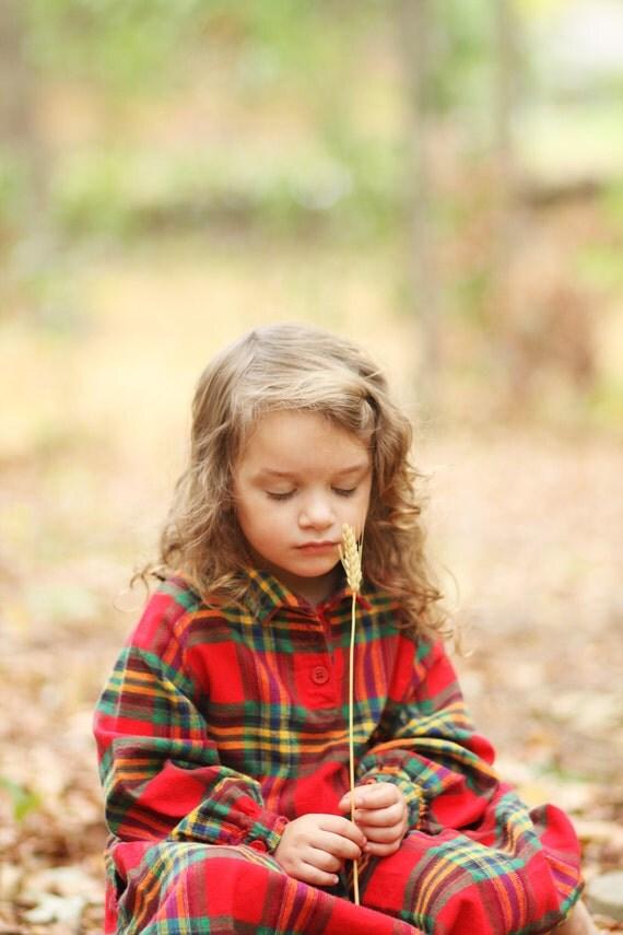 Girls Plaid Flannel Dress - Size 7/8 - Vintage Hanna Andersson - Children Shirt Dress - Woodland Red Green Yellow