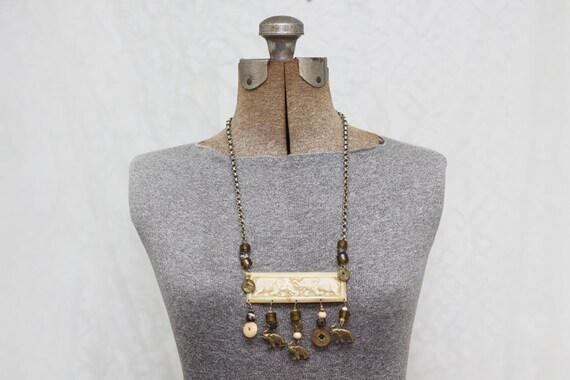 V i n t a g e - 1980s Large Long Necklace - Brass Bone Beads - Elephants Africa - Unique Statement Piece - Chunky Jewelry