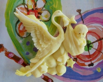 10 Baby Stork Soap - baby shower favor, stork party favor