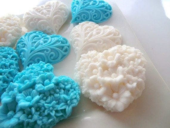 White and Blue Heart Soap - stocking stuffer, gifts for her