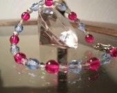 Czech Crystal Bracelet, Fuchsia, Light Sapphire, Glass beads