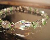 Swarovski bracelet, Peridot, Czech Crystals, Glass Beads