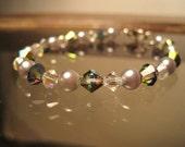 Swarovski Crystal and Glass Pearl Bracelet, Amethyst, Vitrail, Rainbow finish