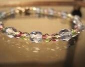 Czech Crystal Bracelet, Light Sapphire, Blue, Glass, Kaleidoscope