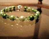 Swarovski and Glass Pearl Bracelet, Peridot, Emerald, Crystal, Green