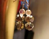 Smokey Rainbow and Crystal Glass Earrings