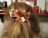 Halloween Pumpkin Barrette, orange, black, bow