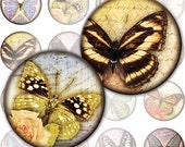 Vintage inspired Butterflies framed digital collage sheet 1.5 inch circles (250) Buy 3 - get 1 bonus
