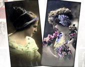 Victorian and Edwardian Vintage ladies digital collage sheet domino tile 1x2 inches (065) Buy 3 - get 1 free