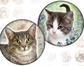 Vintage Cats and kittens 1 inch circles (144)