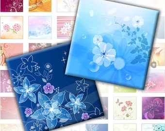 Romantic Flowers and swirls colorful digital collage sheet  1x1 inches squares (061) Buy 3 - get 1 free
