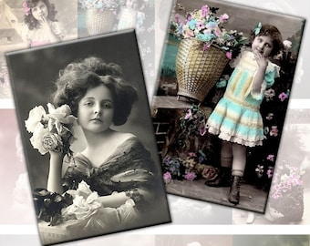Victorian and edwardian Vintage children digital collage sheet 2x3 inches Vol. 3 ATC ACEO Gift Tags Greeting Cards (124) Buy 3 - get 1 free