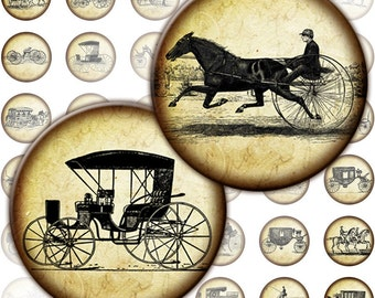 Vintage transportation Equipages and carriages digital collage sheet 1 inch circles   (105) Buy 3 - get 1 free