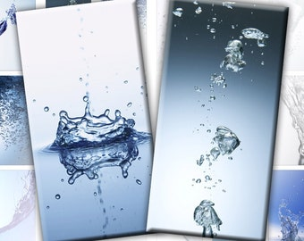Water and drops images Assortment digital collage sheet domino tile pedant size 1x2 inches rectangles (194) Buy 3 - get 1 free