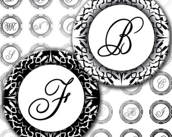 Black and White Damask elegant Alphabet Letters 1 inch circles digital collage sheet Monogram (100) Buy 3 - get 4