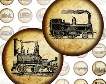 Vintage transportation Locomotives, Railway engines and Tramways digital collage sheet 1 inch circles (134) Buy 3 - get 1 bonus
