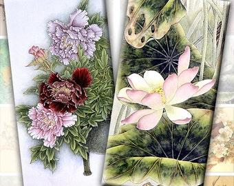 Vintage japanese asian flowers nature illustrations digital collage sheet domino tile 1x2 inch (197) Buy 3 - get 1 bonus