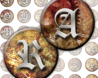 Vintage inspired Steampunk Alphabet Letters and Numbers 1 inch circles  Monogram (204) Buy 3 - get 1 bonus