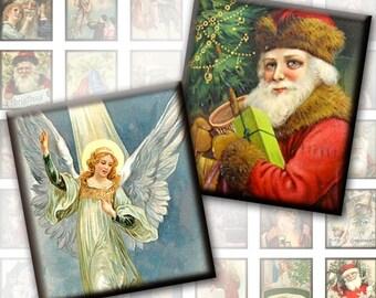Vintage Christmas framed 0.75x0.83 inches digital collage sheet pedant size scrabble tile (208) Buy 3 - get 1 bonus