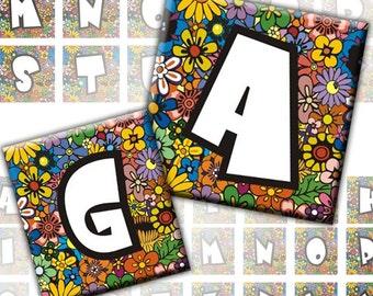 Floral Alphabet Letters 2-in-1 digital collage sheet 1x1 inch 0.75x0.83 inch (219) Buy 3 - get 1 bonus