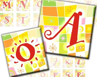 Pretty Colorful Alphabet Letters 2-in-1 digital collage sheet 1x1 inch and 0.75x0.83 inch (224) Buy 3 - get 1 bonus