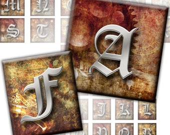 Steampunk Alphabet Initials Letters 2-in-1 digital collage sheet 1x1 inch 0.75x0.83 inch  (218) Buy 3 - get 1 bonus