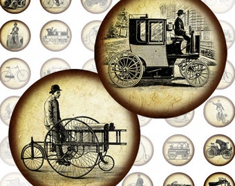 Vintage transportation automobiles and bicycles digital collage sheet 1 inch circles  (125) Buy 3 - get 1 bonus