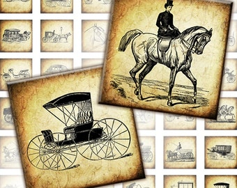 Vintage transportation Equipages and carriages digital collage sheet  1x1 inch squares (104) Buy 3 - get 1 bonus