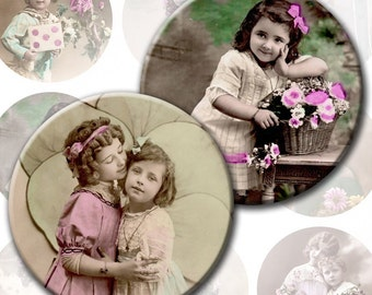 Victorian and edwardian Vintage children digital collage sheet 2,5 inch circles for Pocket Mirrors magnets (113) Buy 3 - get 1 free