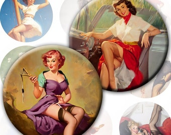 Pinup girls 2 inch circles set of 4 sheets 60 images (168) Buy 3 - get 1 free