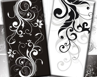 Black and white Swirls digital collage sheet domino tile 1x2 inches rectangles (186) Buy 3 - get 1 bonus