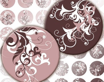 Mauve and puce Swirls digital collage sheet pedant size scrabble tile 1 inch circles  (103) Buy 3 - get 1 free