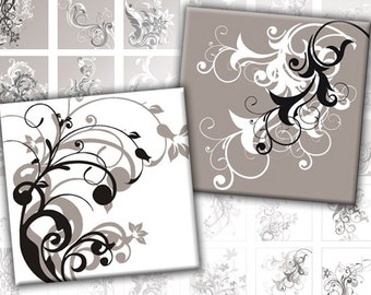 Black and grey Swirls digital collage sheet pedant size scrabble tile 1x1 inches (082) Buy 3 - get 1 free