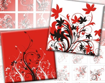 Red, black and white Swirls 1x1 inch digital collage sheet (270) Buy 3 - get 1 bonus