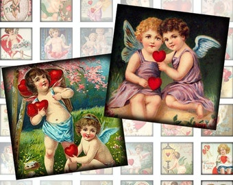 Victorian vintage Valentine day ephemera framed digital collage sheet 1x1 inch squares (275) Buy 3 - get 1 bonus