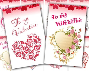 Hearts Valentine day Gift Tags digital collage sheet 2,5 x 4 inch size (278) Buy 3 get 1 bonus