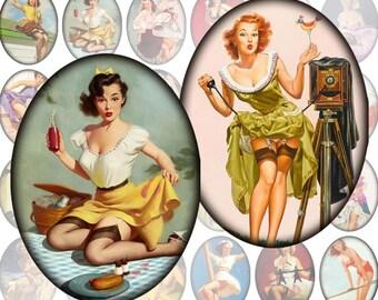 Pinup girls framed digital collage sheet Ovals 30mm x 40mm Vol.1 (282) Buy 3 - get 1 bonus