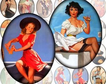 Pinup girls framed digital collage sheet Ovals 30mm x 40mm Vol.2 (284) Buy 3 - get 1 bonus