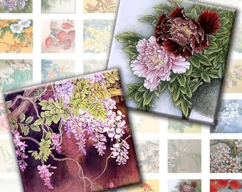 Vintage japanese asian flowers illustrations digital collage sheet 1x1 inch (098) buy 3 fet 1 free