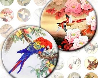 Vintage japanese asian birds nature illustrations digital collage sheet 1 inch circles  (191) Buy 3 - get 1 free