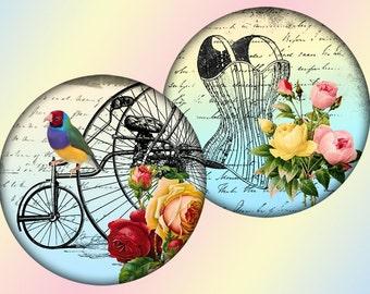 Whimsical vintage 1,5 inch circles digital collage sheet (295) Buy 3 get 1 bonus