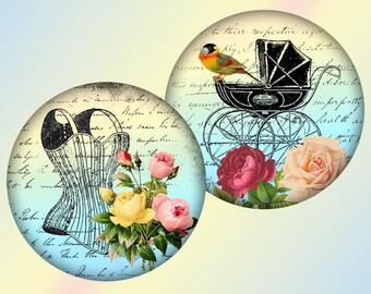 Whimsical vintage 2,5 inch circles digital collage sheet for for Pocket Mirrors magnets Download (296) Buy 3 get 1 bonus