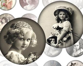 Victorian and edwardian Vintage children digital collage sheet 1.5 inch circles (313) Buy 3 - get 1 bonus