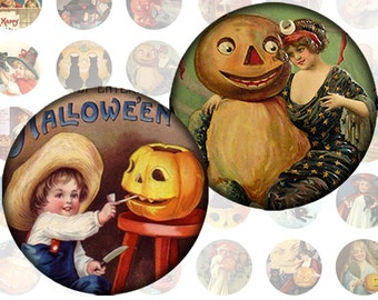 Victorian Halloween ephemera digital collage sheet 1 inch circles  (148) Buy 3 - get 1 free