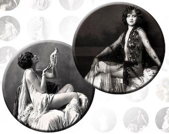 Vintage Erotic Ladies digital collage sheet 1 inch circles (154) Buy 3 - get 1 bonus